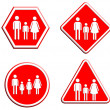 Family icon in traffic plate — Stock Photo