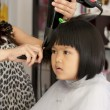 Stock Photo: Young girl getting a haircut
