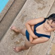 Happy asian child swiming — Stock Photo