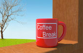 Coffee red cup in relax time — Stock Photo