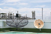 Satellite dish in summer day — Stock Photo