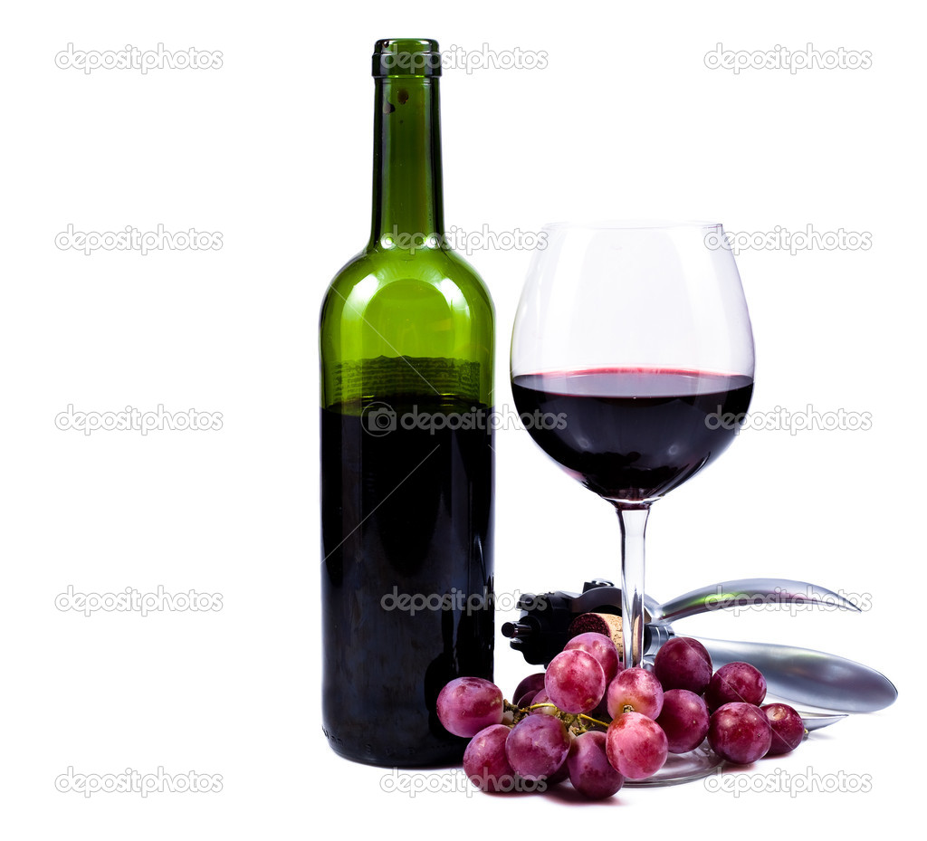 wine glass with red wine bottle of wine and grapes stock photo 9629296 bottle red wine