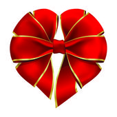 Heart shaped red bow — Stock Vector