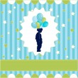 Boy with balloon, blue wallpaper — Stock Vector