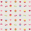 Seamless pattern with decorated cupcakes - Stock Vector