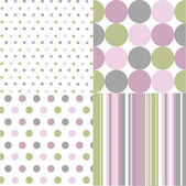 Seamless patterns, polka dots — Stock Vector