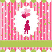 Girl with balloon, pink wallpaper — Vector de stock