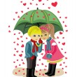 Valentine's day, girl and boy — Stock Vector
