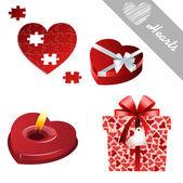 Hearts valentine's icons — Vettoriale Stock