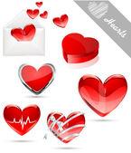 Hearts valentine's icons — Stock Vector
