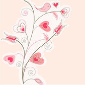 Valentine tree background, pink hearts — Stock Vector