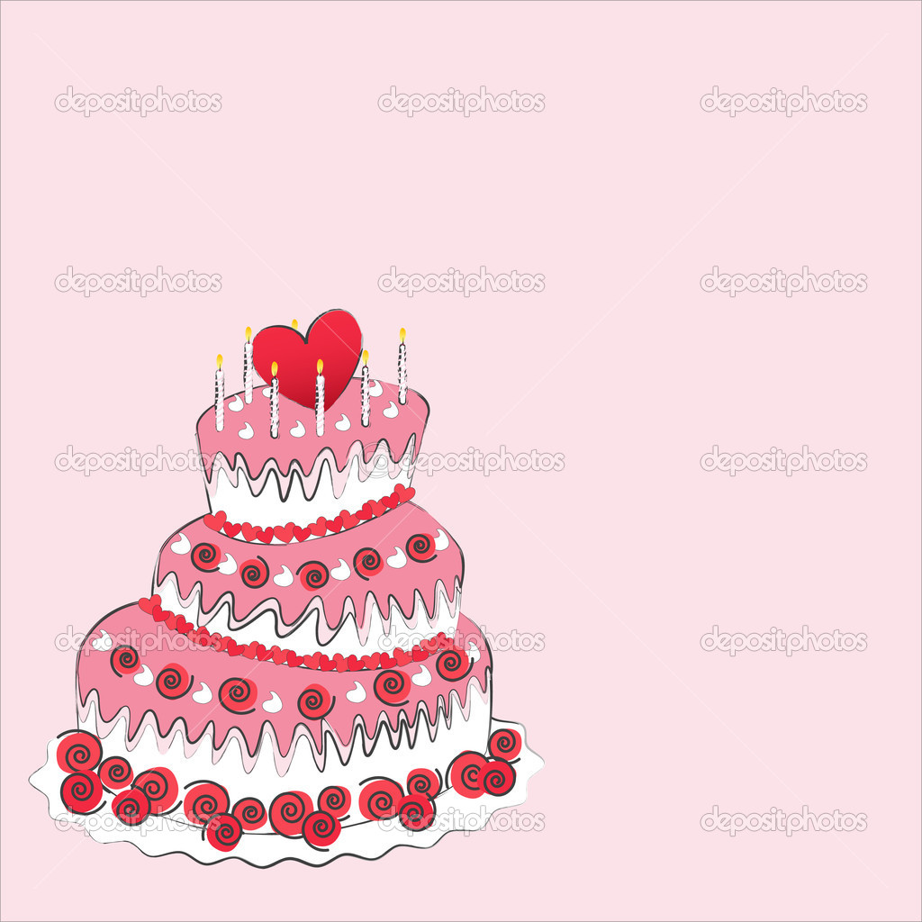 Wedding cake, valentine&#039;s day  Stock Vector #10376098