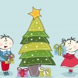 Little girl, little boy and Christmas Tree — Stockvectorbeeld