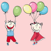 Happy little boy and little girl flying with the balloons — Stock Vector
