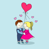 Boy and girl, happy valentine's day — Stock Vector
