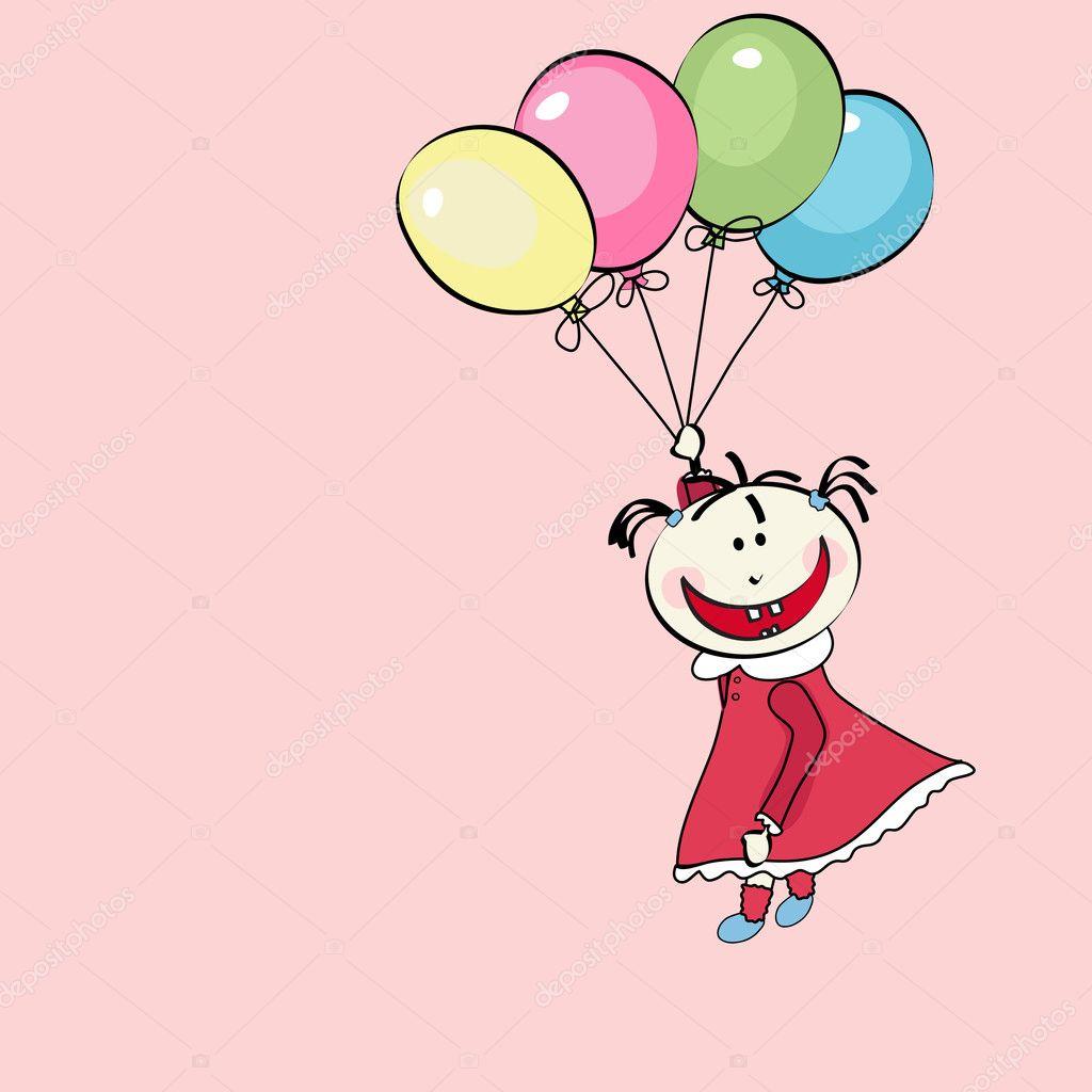 Открытки раскраски с воздушными шарами