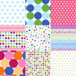 Stock Vector: Seamless patterns, polka dot set