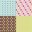 Stock Vector: Seamless patterns, polkdots set