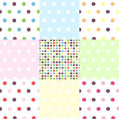 Seamless patterns, polka dot set — Stock Vector
