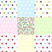 Seamless patterns, polka dot set — Stock Vector