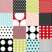 Seamless patterns, polka dot set — Stockvector