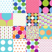 Seamless patterns, polka dot set — Vecteur