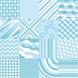Seamless blue patterns with fabric texture — Stock Vector