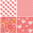 Seamless patterns with fabric texture — Stock Vector #9599689