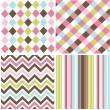 Stock Vector: Patterns with fabric texture