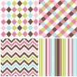 Seamless patterns with fabric texture - Imagens vectoriais em stock