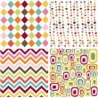 Colorful seamless patterns with fabric texture - Vektorgrafik