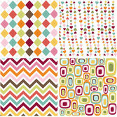 Colorful seamless patterns with fabric texture — Stock Vector