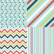 Seamless patterns with fabric texture — Vector de stock #9600029