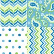 Seamless patterns with fabric texture — Stock Vector