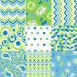 Seamless patterns with fabric texture — Imagens vectoriais em stock