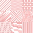 Stock Vector: Seamless pink patterns with fabric texture