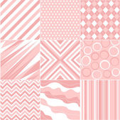 Seamless pink patterns with fabric texture — Stock Vector