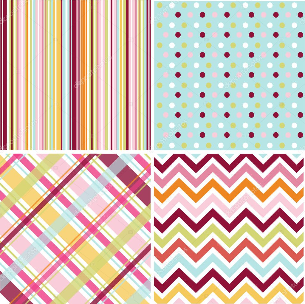 Seamless patterns with fabric texture   Stock Vector #9600004