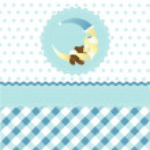 Seamless baby boy pattern, blue cartoon moon wallpaper — Stock Vector