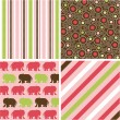 Seamless patterns with fabric texture, baby girl patterns — Stock Vector