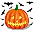 Pumpkin and bats — Stock Vector