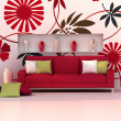 Interior of modern room, floral wall and red sofa — Stock Photo #9931793