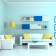 Interior of the modern room, blue wall and two white sofa — Stock Photo