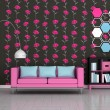Interior of the modern room, black floral wall, pink sofa — Stock Photo
