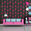 Interior of the modern room, black floral wall, pink sofa — Stock Photo #9932249