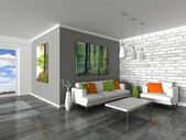 Interior of the modern room, grey wall and white sofas — Stock Photo