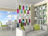 Wnętrza, nowoczesny pokój, pokój dzienny, jadalnia — Zdjęcie stockowe