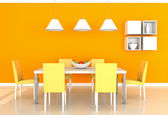 Orange modern dining room — Stock Photo