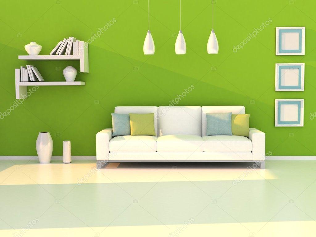 Interieur van de moderne kamer groene muur en witte slaapbank stockfoto lemony 9931512 - Moderne witte kamer ...
