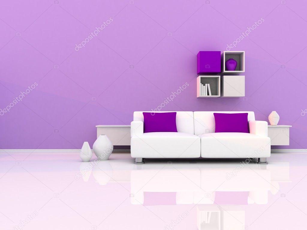 Interieur van de moderne kamer paars muur en witte slaapbank stockfoto lemony 9931810 - Witte muur kamer ...